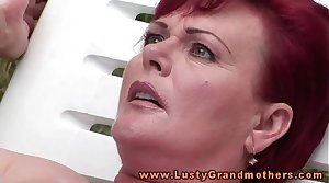 Ginger grown up granny fingered outdoors