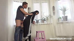 Hot Muslim woman doing extra cleaner